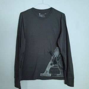 American Eagle T Shirt Long Sleeve Front Back Logo